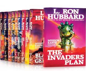 De eerste editie van deMission Earth serie, waarvan elk deel een New York Times bestseller werd.