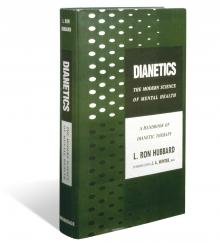 Eerste editie van  Dianetics: De Leidraad L. Ron Hubbard,  die voor het eerst in mei 1950 werd uitgegeven.